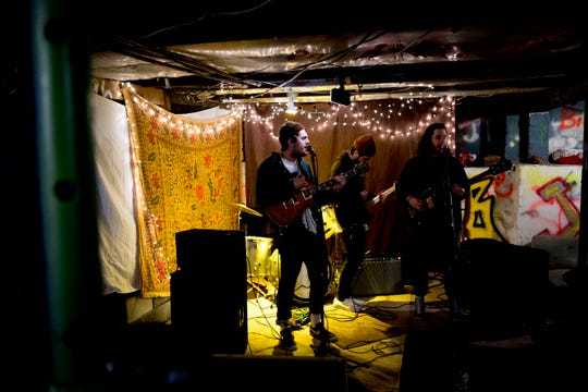 Tyler Clark, Tyler Cage and Aaron Cage perform at The Basement at 1706 Highland Ave. in Knoxville, Tennessee on Wednesday, January 30, 2019. The new venue is aiming to host local and national talent as well as arts and crafts.