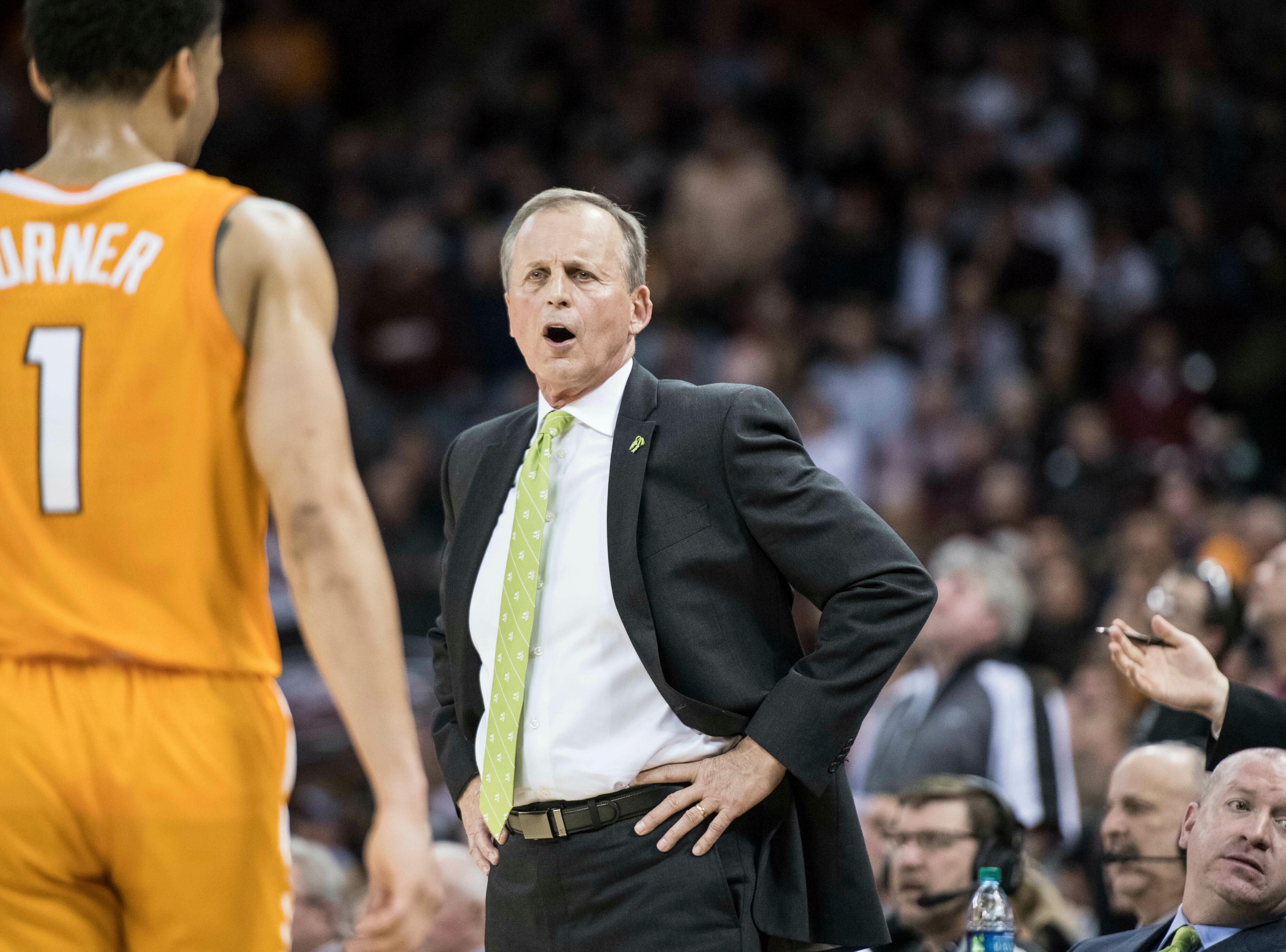 Tennessee head coach Rick Barnes shouts at Tennessee guard Lamonte Turner (1) during the first half of an NCAA college basketball game against South Carolina Tuesday, Jan. 29, 2019, in Columbia, S.C. Tennessee defeated South Carolina 92-70. (AP Photo/Sean Rayford)