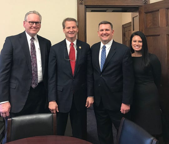 TVA CEO Bill Johnson, left, meets with U.S. Rep. Tim Burchett on Jan. 28 in Washington. With them are Justin Maierhofer, vice president of government relations, and Bevin Taylor of TVA, director of federal government relations.