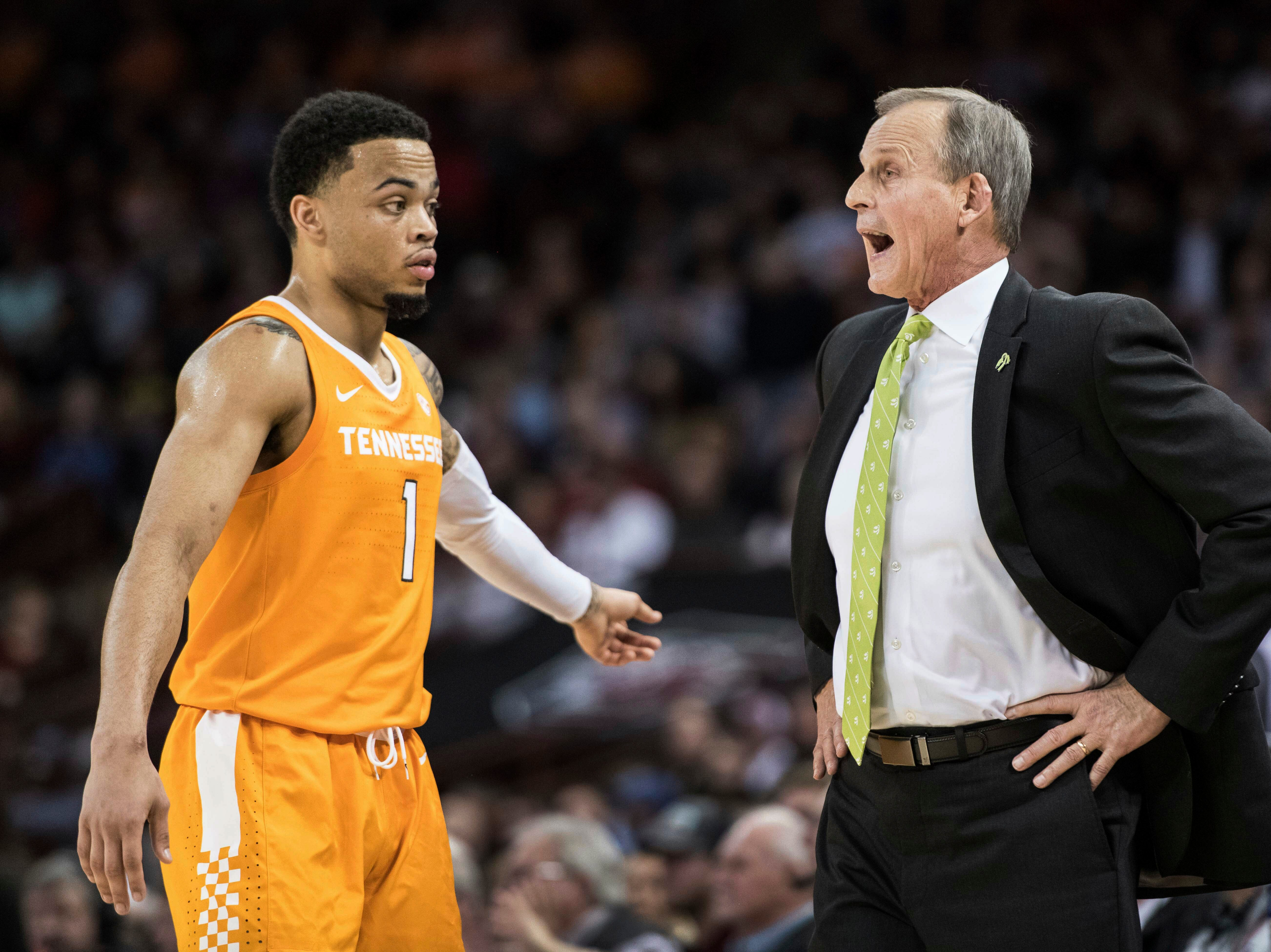 Tennessee head coach Rick Barnes shouts at guard Lamonte Turner (1) during the first half of an NCAA college basketball game against South Carolina Tuesday, Jan. 29, 2019, in Columbia, S.C.