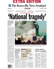 The Knoxville News Sentinel's front page of the extra edition on Sept. 11, 2001.