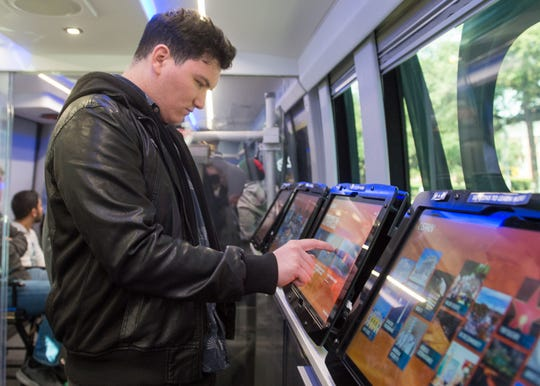 Jerome Rosenberg touring  C-SPAN's 45-foot customized bus serves as the public affairs television network's high-tech classroom. Wednesday, Jan. 30, 2019.