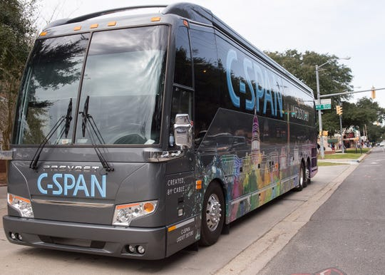 C-SPAN's 45-foot customized bus serves as the public affairs television network's high-tech classroom. Wednesday, Jan. 30, 2019.