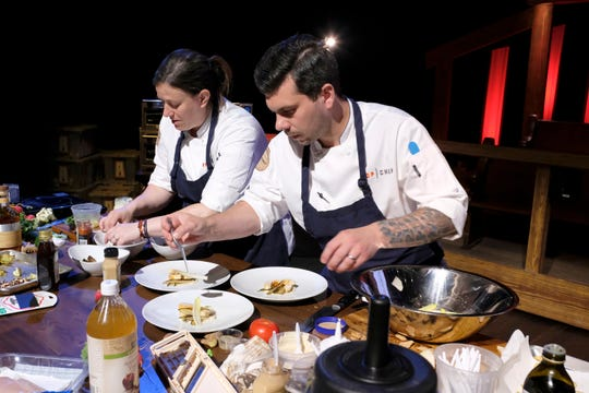 Contestants Sara Bradley and Eddie Konrad on episode 9 of Bravo's 'Top Chef: Kentucky' season.