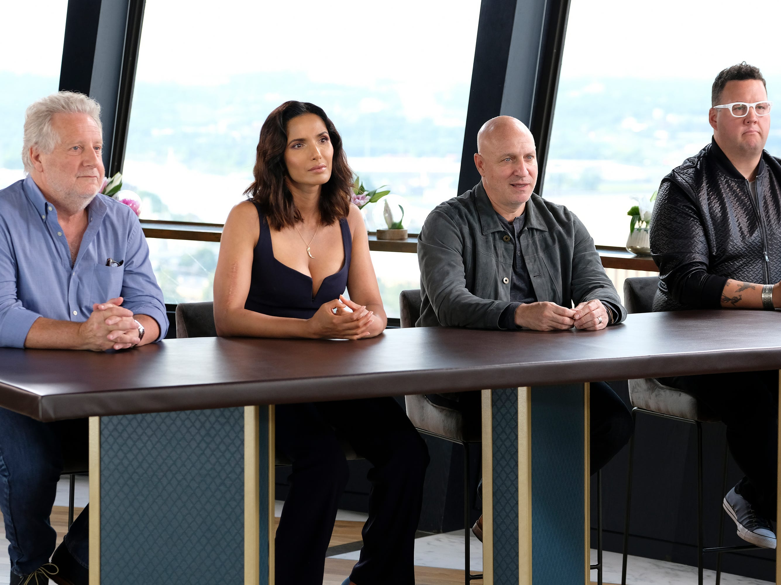 (Left to right): Chef Jonathan Waxman, Host Padma Lakshmi and judges Tom Colicchio and Graham Elliot on episode 9 of Bravo's 'Top Chef: Kentucky' season.