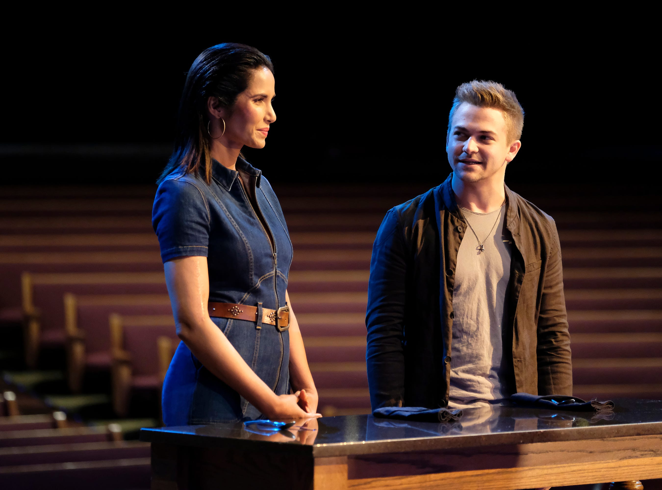 Host Padma Lakshmi and country music star Hunter Hayes on episode 9 of Bravo's 'Top Chef: Kentucky' season.