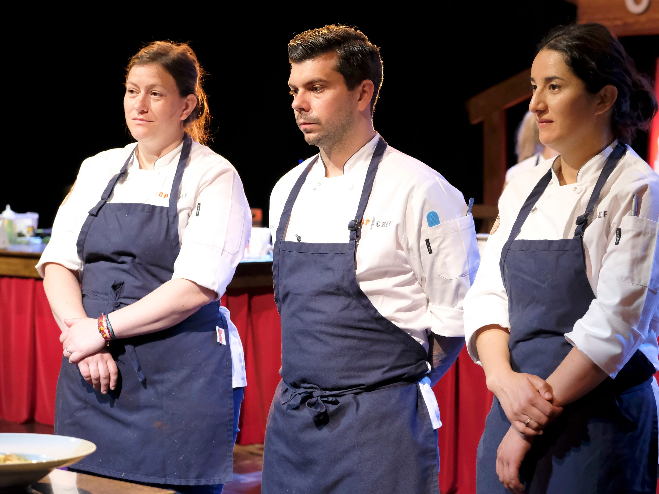 (Left to right): Contestants Sara Bradley, Eddie Konrad and Michelle Minori on episode 9 of Bravo's 'Top Chef: Kentucky' season.
