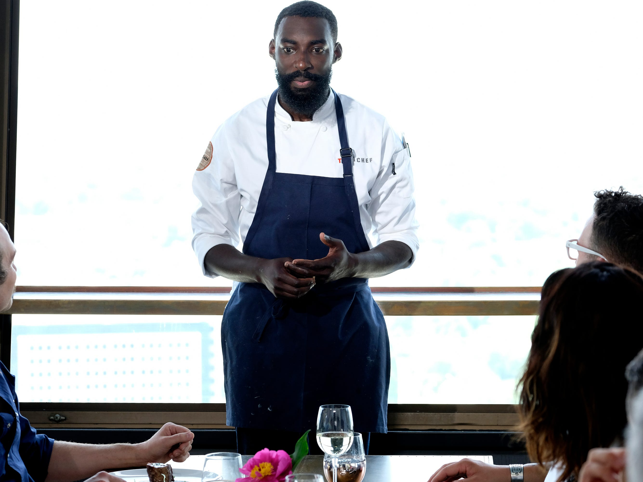 Constestant Eric Adjepong on episode 9 of Bravo's 'Top Chef: Kentucky' season.