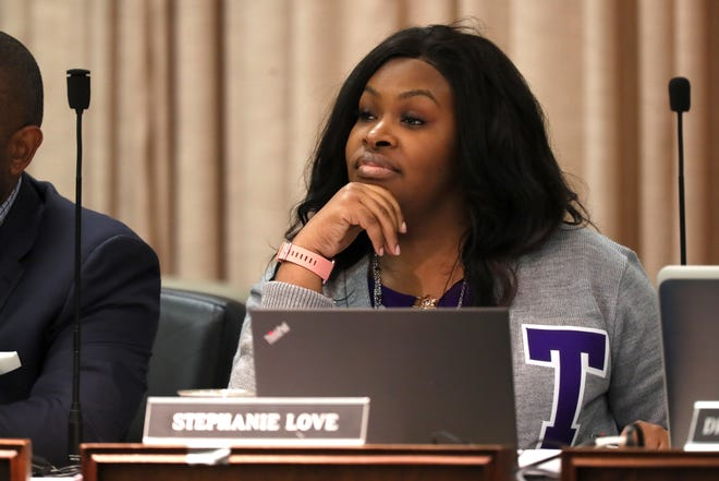 Board Member Stephanie Love during the Shelby County School Board meeting on Tuesday, Jan. 29, 2019.