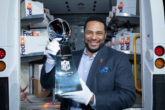 FedEx delivered the Vince Lombardi Trophy to Atlanta for Super Bowl LIII, with Pro Football Hall of Famer Jerome Bettis lending a hand in the delivery's last leg.