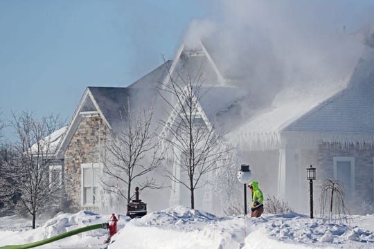 A home on Ridgeline Trail in Menomonee Falls was the scene of a fire on Wednesday.  Firefighters had a portion of the neighborhood blocked off as they remained on the scene pouring more water on it at times.