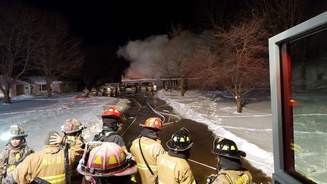 Firefighters worked at the scene of a fire at N72 W24640 Good Hope Road, Lisbon, from 9:30 p.m. Jan. 29 until 6 a.m. Jan. 30. Most of that time was spent treating hot spots after the fire was contained.