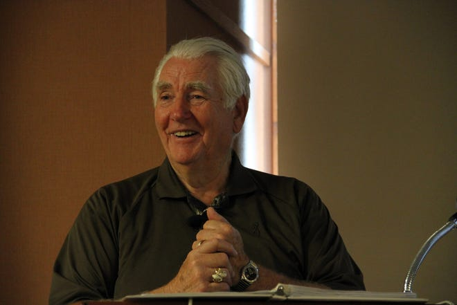 Bernie Lemon of New Berlin presented poetry and stories at the New Berlin Library in 2012.