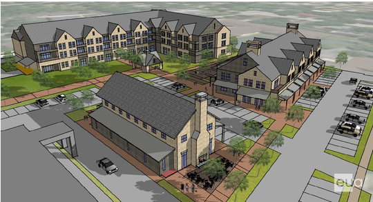 Looking southeast from Walgreens, this rendering shows the green space and walkways connecting the retail and apartment buildings at the proposed Hawthorne Square development in Thiensville.