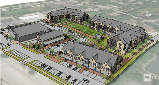 The Hawthorne Square development will include, in clockwise order, a 36-unit apartment building east of Walgreens, a 48-unit on the southeastern corner of the site, a 9,000-square-foot retail building facing Main Street and a smaller retail building just south of Walgreens.