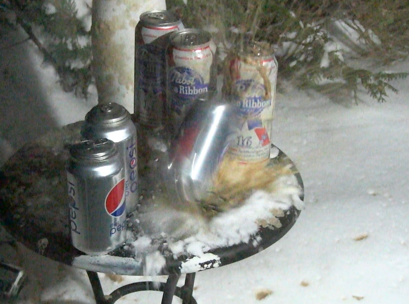 Soda and beer cans explode in the cold.