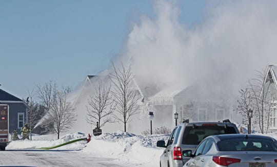 A home on Ridgeline Trail in Menomonee Falls was the scene of a fire Wednesday.  Firefighters had a portion of the neighborhood blocked off as they remained on the scene pouring more water on it at times.