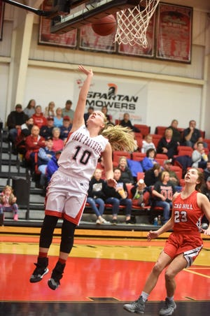 Norfork's Macy Dillard goes up for a layup against Lead Hill on Tuesday night.