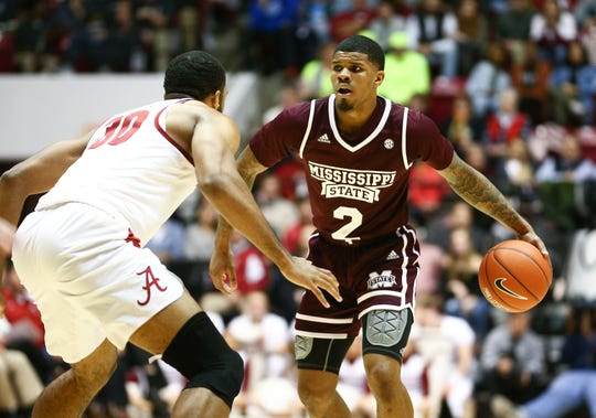 Mississippi State junior point guard Lamar Peters dribbles a Nike basketball against Alabama. The Bulldogs have had trouble with Nike balls this season. Mandatory Credit: Marvin Gentry-USA TODAY Sports