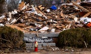 Storm debris from First presbyterian Church in Wetumpka, Ala., on Wednesday January 30, 2019. A tornado hit the town on Saturday January 19, 2019.