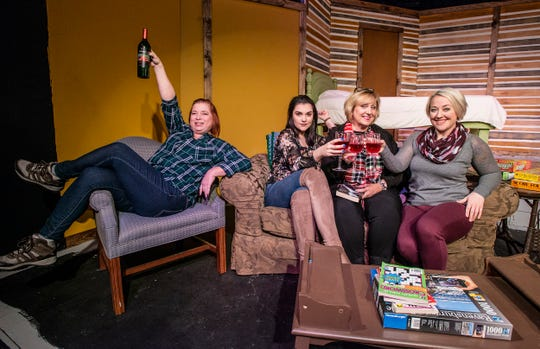 "From left are Elaine Lewis, Amber Rigby, Kristy Meanor and Leanna Wallace. The cast of ""Girls' Weekend"" during dress rehearsal on Tuesday, Jan. 30, 2019, at the Wetumpka Depot."