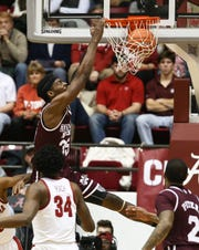 Jan 29, 2019; Tuscaloosa, AL, USA; Mississippi State Bulldogs forward Aric Holman (35) dunks the ball against the Alabama Crimson Tide during the second half at Coleman Coliseum. Mandatory Credit: Marvin Gentry-USA TODAY Sports