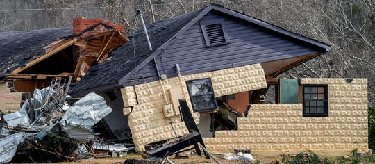 Damaged buildings in Wetumpka, Ala., are seen on Wednesday January 30, 2019. A tornado hit the town on Saturday January 19, 2019.