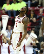 Jan 29, 2019; Tuscaloosa, AL, USA; Alabama Crimson Tide forward Donta Hall (0) reacts after scoring against Mississippi State Bulldogs during the first half at Coleman Coliseum. Mandatory Credit: Marvin Gentry-USA TODAY Sports