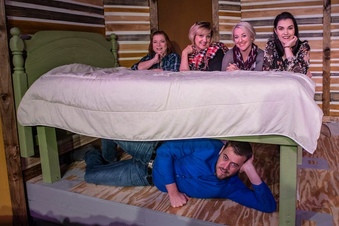 "From left, top, are Elaine Lewis, Kristy Meanor, Leanna Wallace and Amber Rigby, with Blake Robertson under the bed. The cast of ""Girls' Weekend"" during dress rehearsal on Tuesday, Jan. 30, 2019, at the Wetumpka Depot."