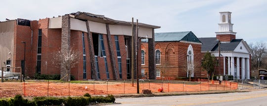 A storm damaged campus of Wetumpka First Baptist Church in Wetumpka, Ala., on Wednesday January 30, 2019. A tornado hit the town on Saturday January 19, 2019.