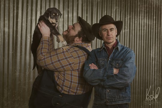 """Kyle Reninger and Benji Koonz play best friends and transient workers Lenny and George in Muncie Civic Theatre's production of """"Of Mice and Men."""""""