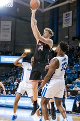 Ball State's Blake Huggins shoots against Buffalo on Tuesday.