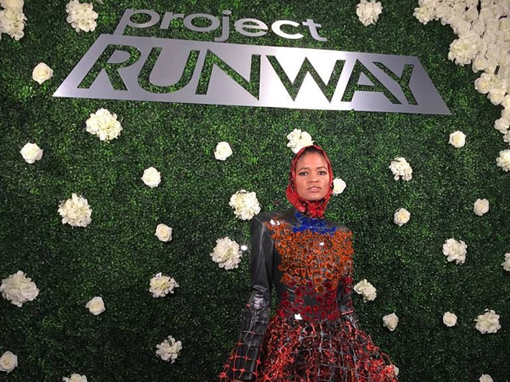 "A model wears one of Ayana Ife's modest fashions displayed on ""Project Runway."""