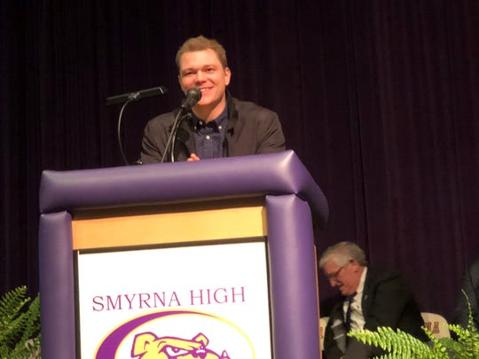 Former Smyrna standout athlete and current Cincinnati Reds pitcher Sonny Gray speaks at Smyrna High's inaugural Hall of Fame induction Saturday.