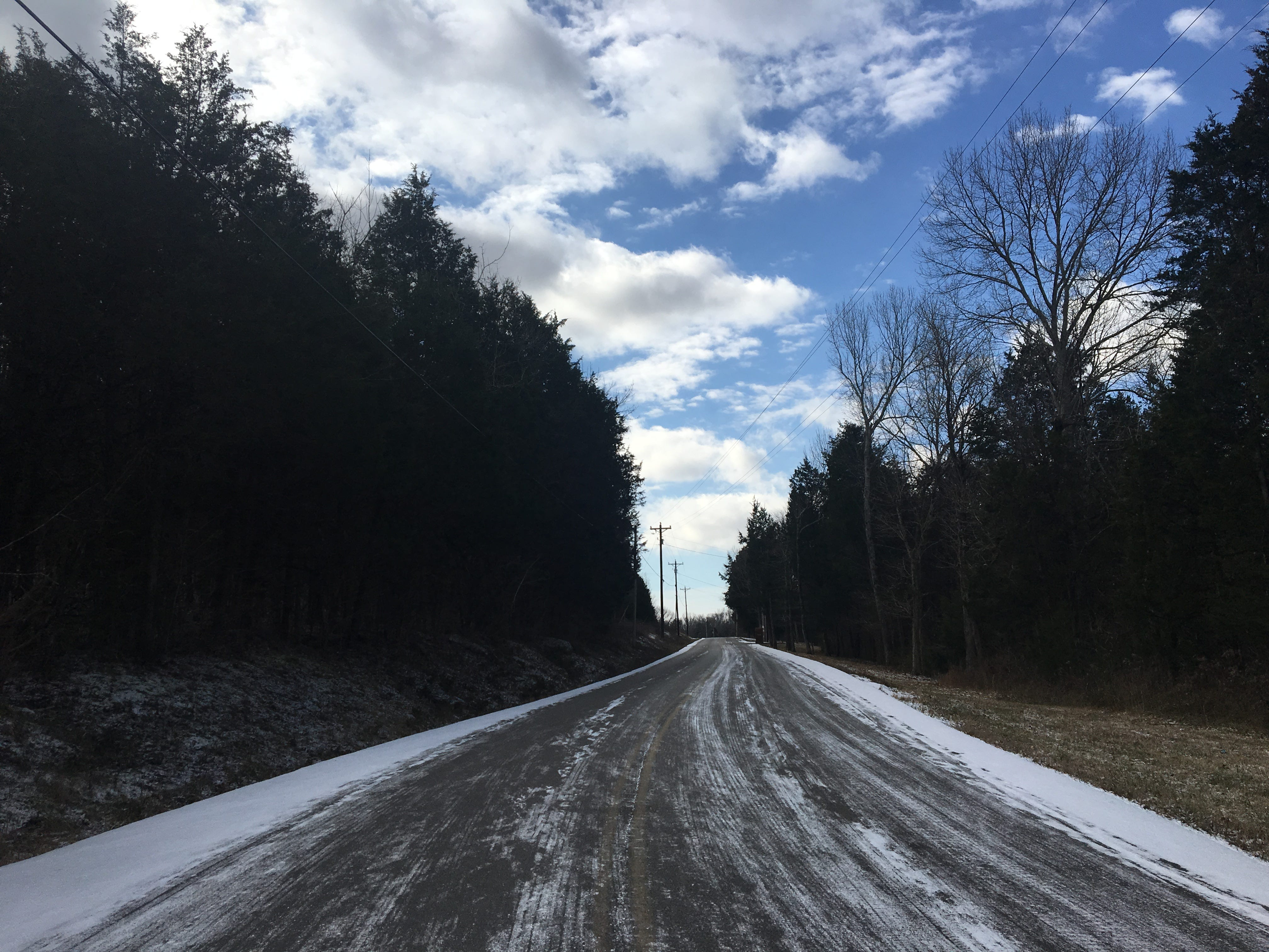 Del Thomas Road in Smyrna had little to no snow in some parts and was totally covered in others on Wednesday, Jan. 30, 2019.