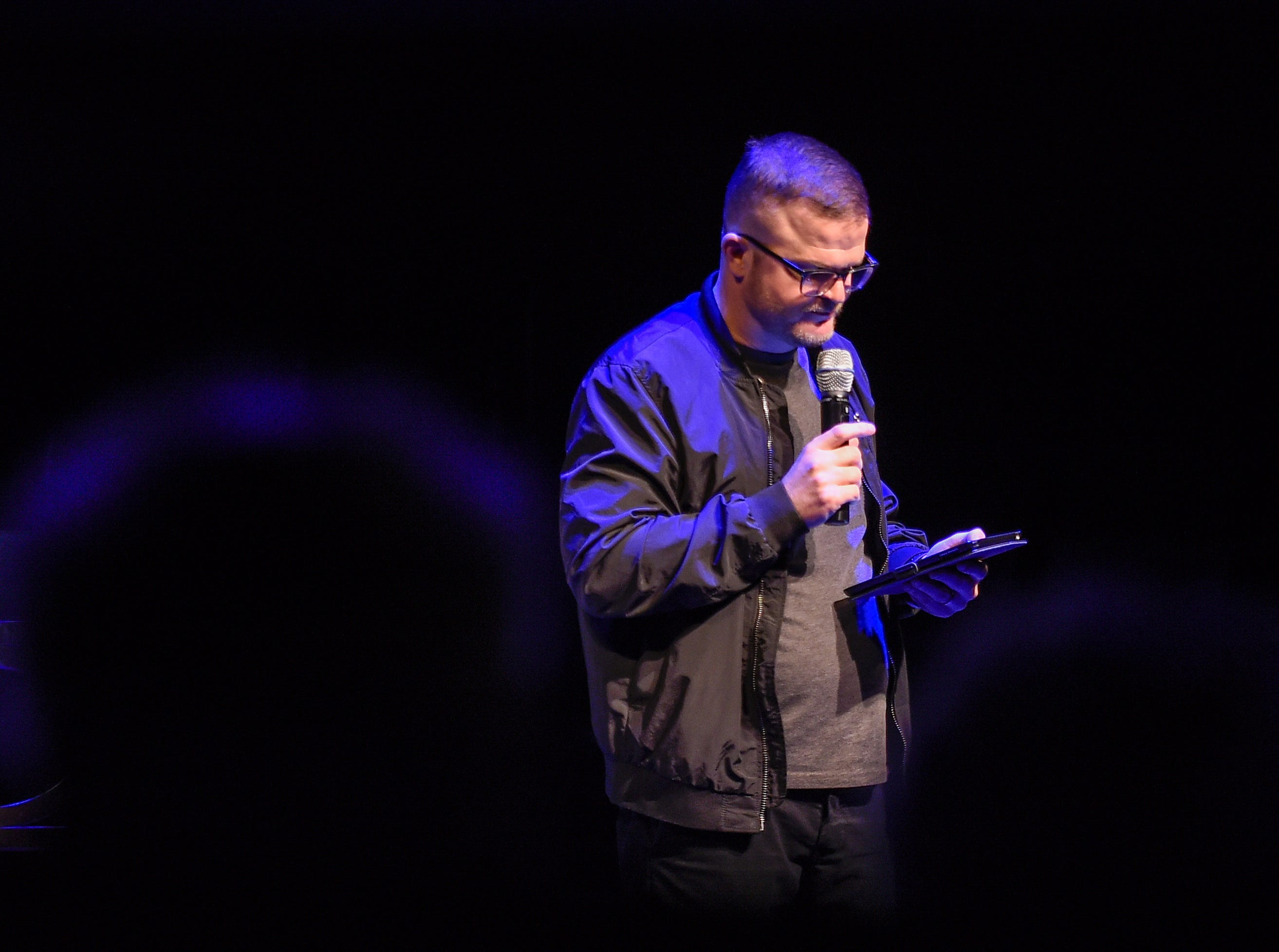 "Jeff Huxford tells his story at ""Nashville Storytellers: Survival"" held at Tennessee Performing Art Center on Monday, Jan. 28, 2019."