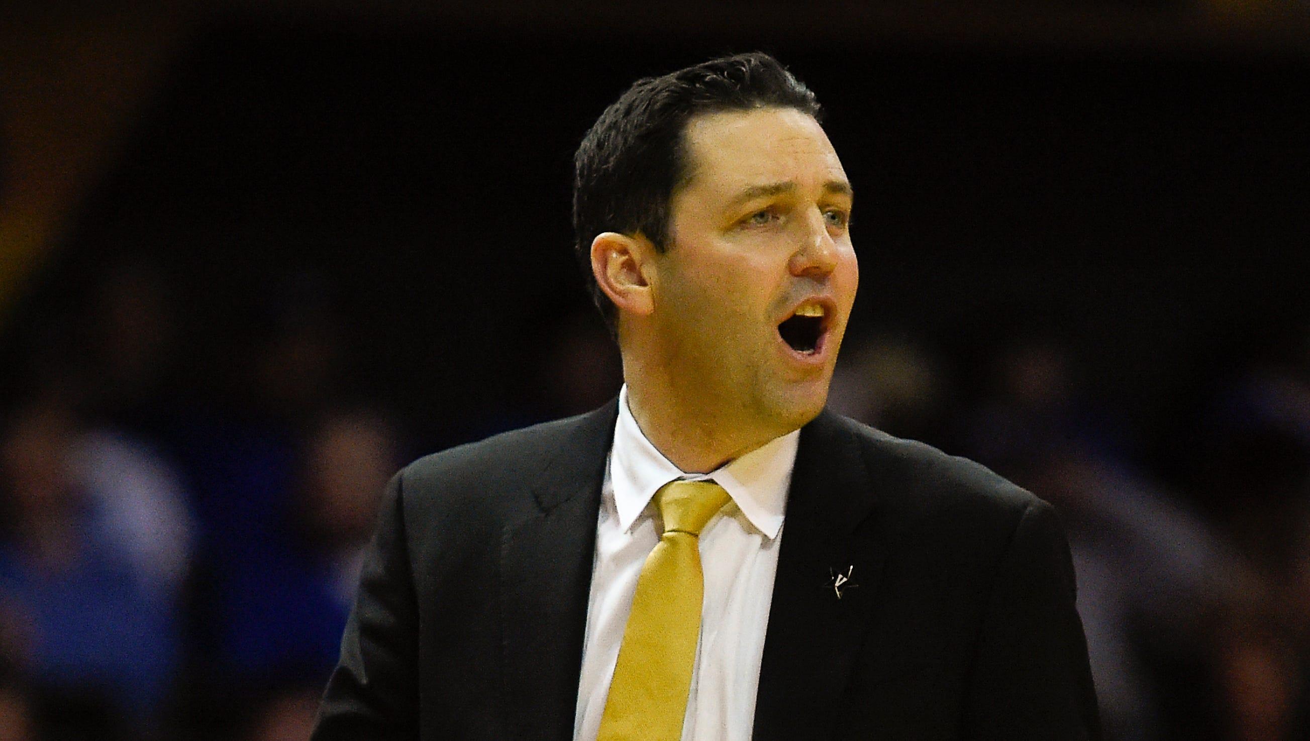 Vanderbilt head coach Bryce Drew yells at his...