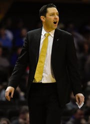 Vanderbilt head coach Bryce Drew yells at his players during the second half of their game against Kentucky at Memorial Gym Tuesday Jan. 29, 2019 in Nashville, Tenn.