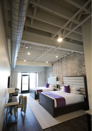 One of the loft-style suites at the newly opened Studio 154 hotel.