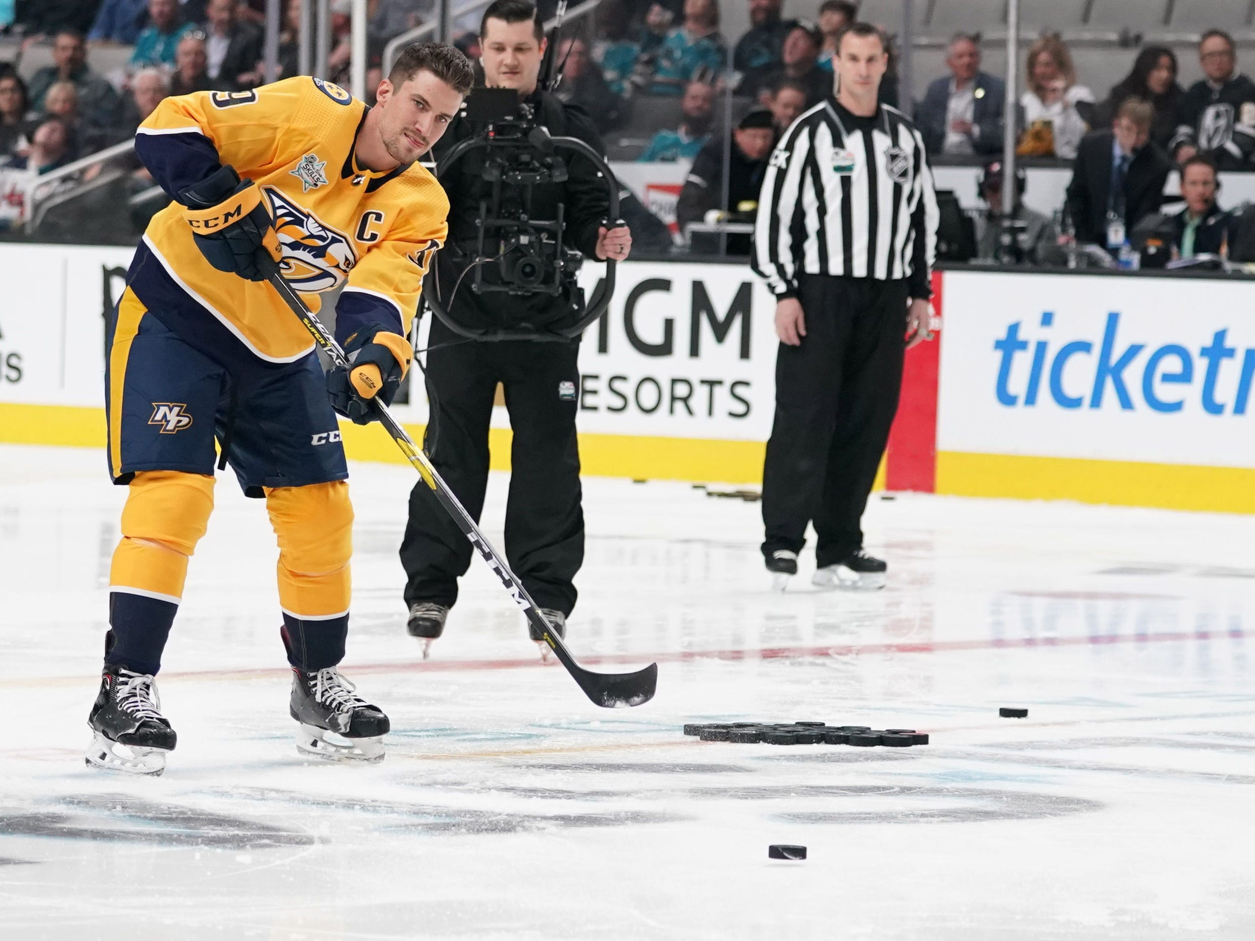 Central Division player Roman Josi (59) of the Nashville Predators in the premier passer competition in the 2019 NHL All Star Game skills competition at SAP Center in San Jose, Calif., on Jan. 25, 2019.