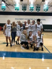 Seacrest girls basketball player Logan Nikolich scored her 1,000th career point against St. John Neumann on Tuesday, Jan. 29, 2019.