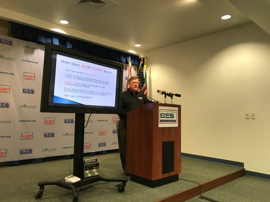 Dan Summers, director of Collier County's bureau of emergency services, presents the county's new emergency notification system during a press conference Wednesday, Jan. 30, 2019, at the Collier County Emergency Services Center.