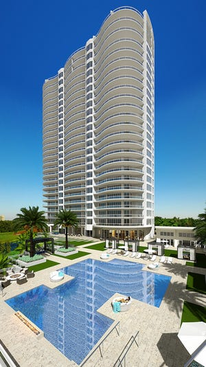 A massive pool with a beach entry will serve as the centerpiece of Omega's outdoor amenity deck.