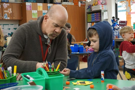 John Johnson, a retired teacher from Newark City Schools, served as a guest teacher in a kindergarten class at John Clem Elementary last week.