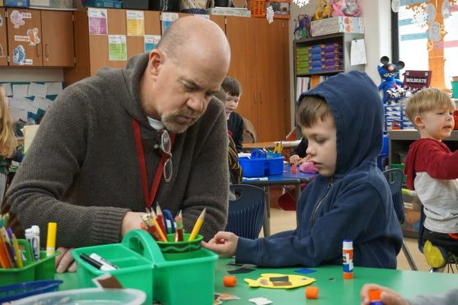 John Johnson, a retired teacher from Newark City Schools, served as a guest teacher in a kindergarten class at John Clem Elementary last week.