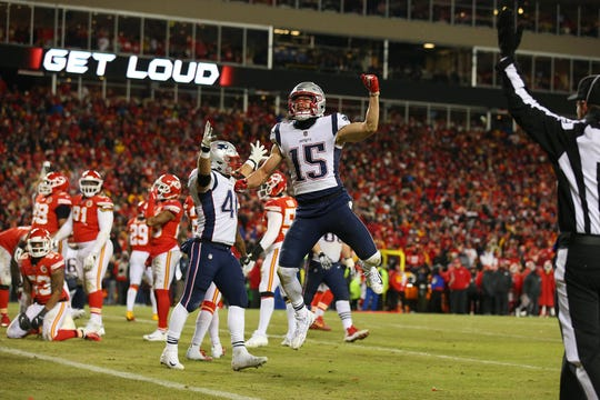 Jan 20, 2019; Kansas City, MO, USA; New England Patriots wide receiver Chris Hogan (15) celebrates during the second half of the AFC Championship game against the Kansas City Chiefs at Arrowhead Stadium.