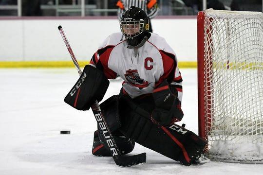 Lakeland goalie Luke Joyce makes a save.