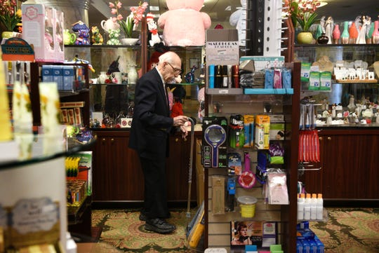 """It's the best job I've ever had,"" says Herand Kafafian, 100, of the fifteen years he has been volunteering in the gift shop at Holy Name Medical Center in Teaneck. Kafafian, the oldest active volunteer at the hospital, heads out for his lunch break on Monday, January 28, 2019."