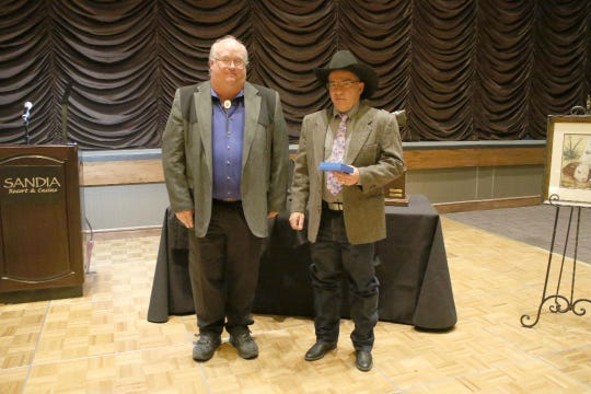 Trey Bays, right, Doña Ana County, received the 2018 New Mexico Cattle Growers Association Inspector of the Year Award. He is pictured with Troy Sauble, left, Sauble Ranch, sponsor of the award.