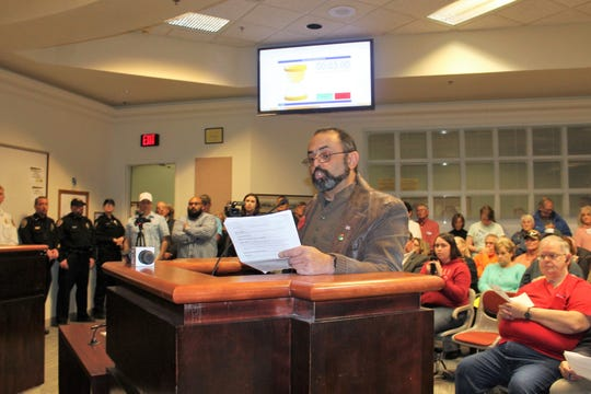 Alamogordo resident Paul Sanchez addresses the Alamogordo City Commission at their regular meeting Tuesday, Jan. 29.